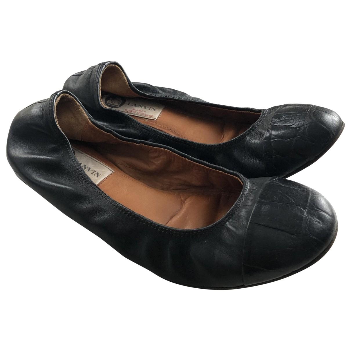 Lanvin \N Black Leather Ballet flats for Women 35 EU