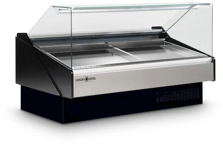 KFMSF80R Seafood Case with Ice Pans with 4345 BTU  Tilt Forward Flat Tempered Front Glass  Rear Tempered Sliding Doors  in