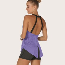 Violett  Cut Outs Colorblocks Sport T-Shirts