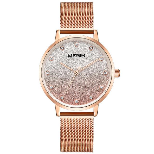 MEGIR 4215 Ultra Thin Simple Mesh Steel Women Quartz Watch