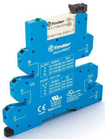 Finder , 24V ac/dc SPDT Interface Relay Module, Push In Terminal , DIN Rail