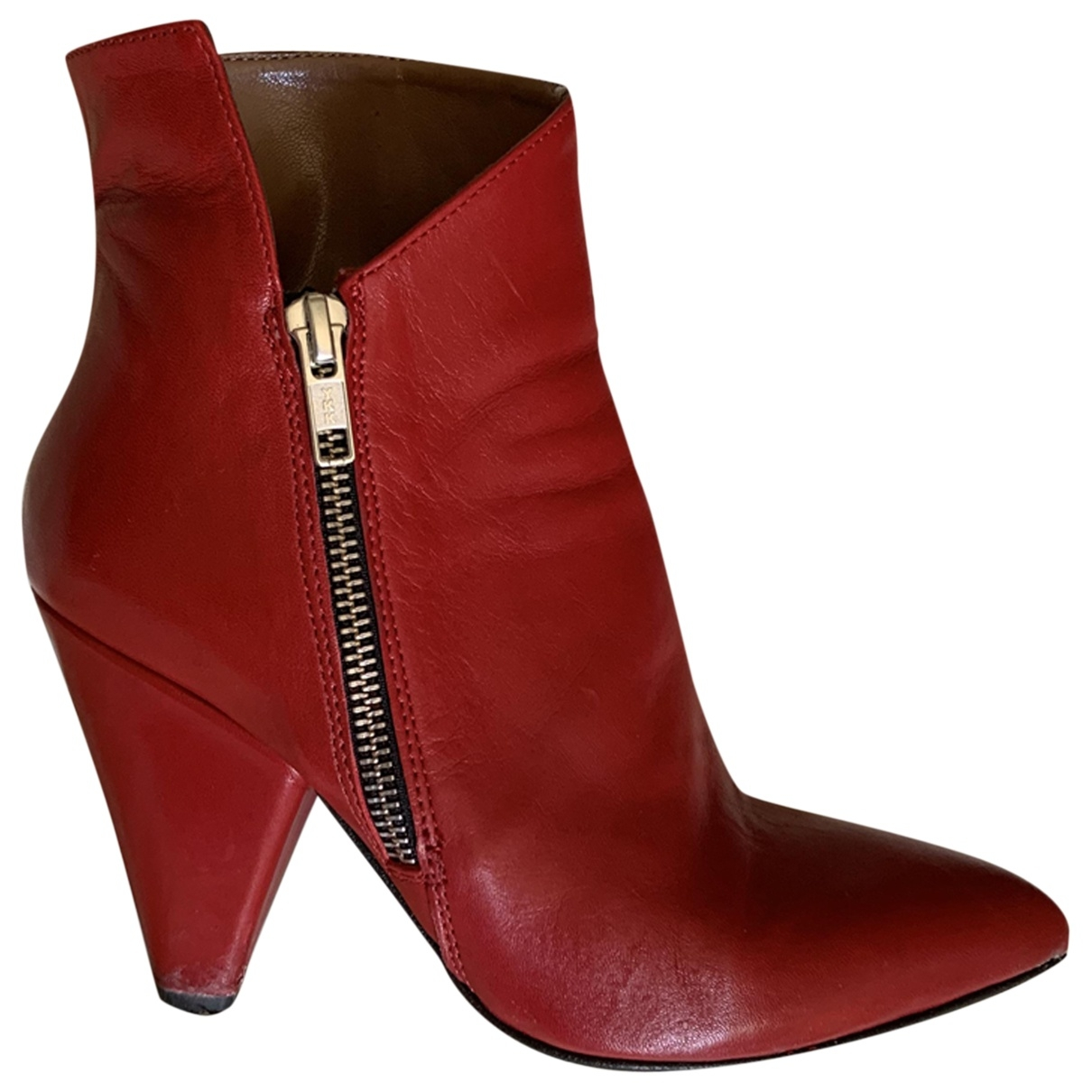 Non Signé / Unsigned \N Red Leather Ankle boots for Women 35 EU