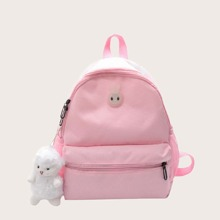 Girls Pocket Front Backpack With Toy Charm