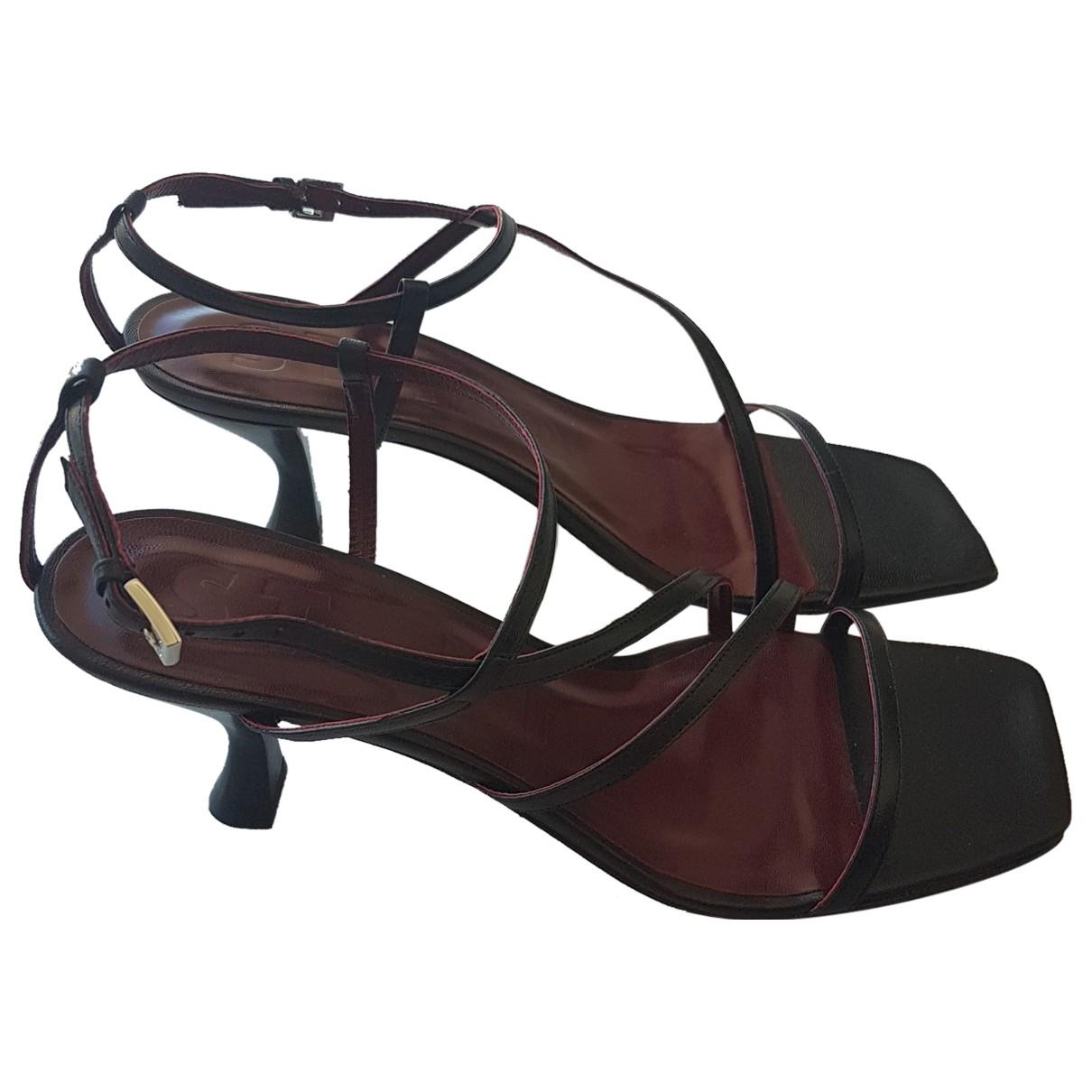 Staud - Sandales   pour femme en cuir - noir