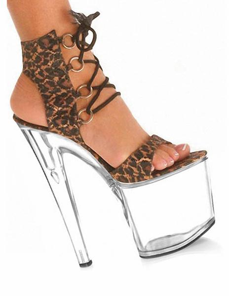 Milanoo Sandalias de piel sintetica con estampado de leopardo de estilo sexy