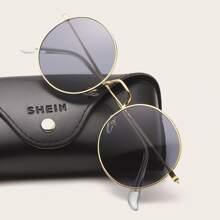 Men Metal Frame Round Lens Sunglasses