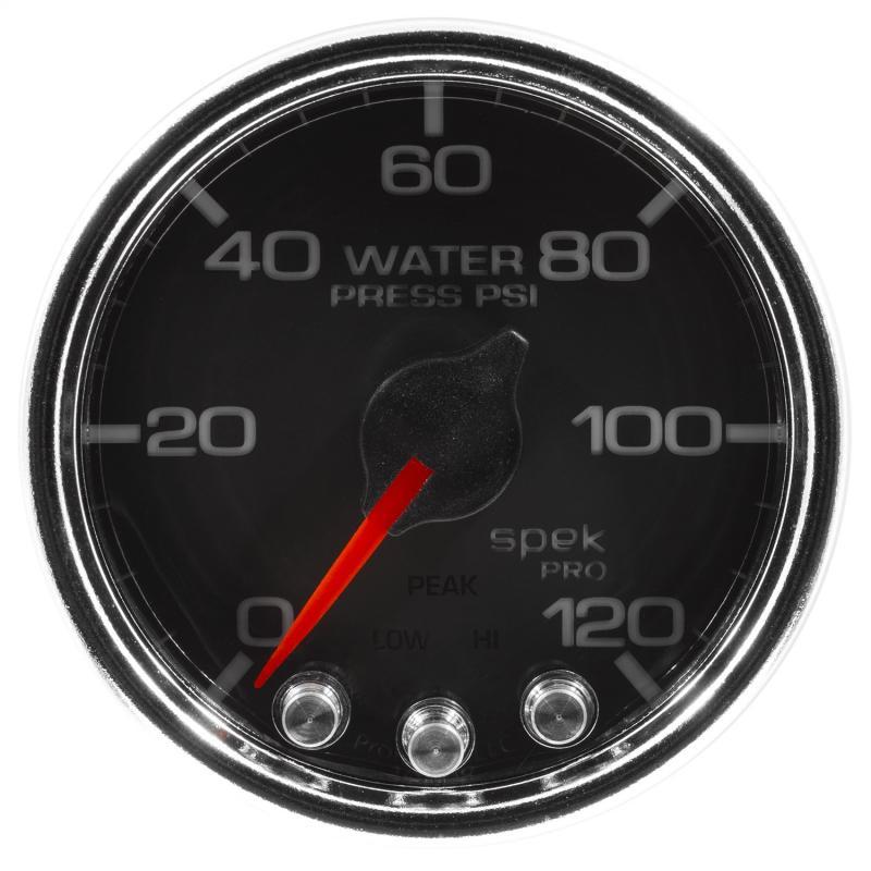 AutoMeter GAUGE; WATER PRESS; 2 1/16in.; 120PSI; STEPPER MOTOR W/PEAK/WARN; BLK/CHRM; SPEK