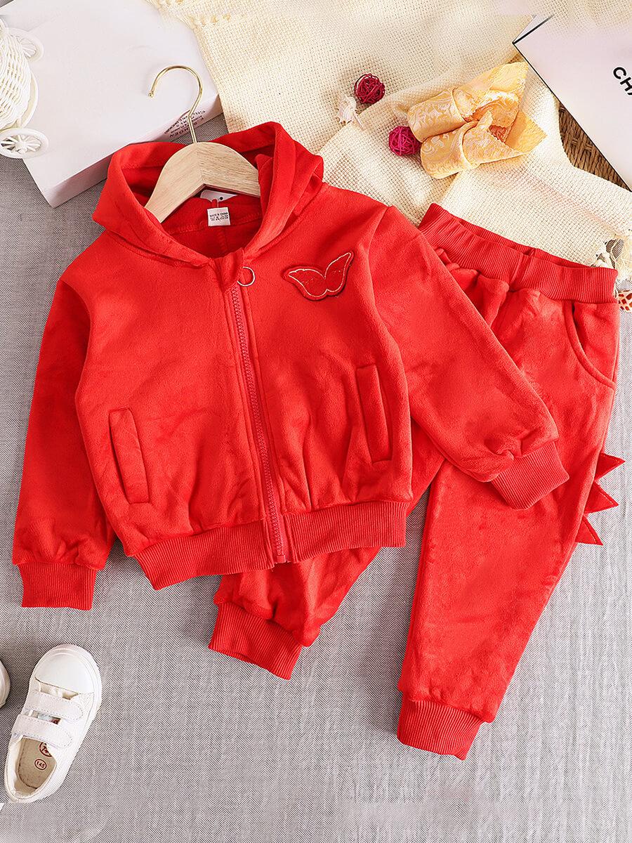 LW Lovely Sportswear Butterfly Zipper Design Red Girl Two Piece Pants Set