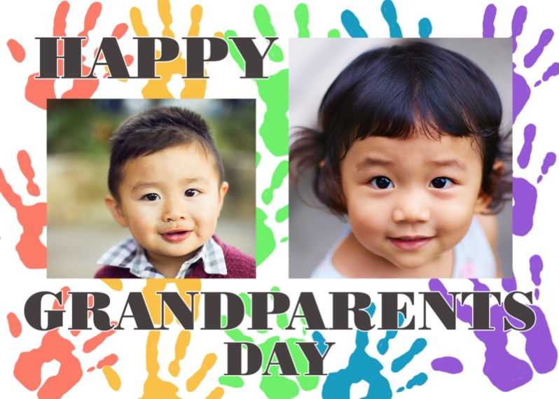 Grandparents Mail-for-Me Premium 5x7 Folded Card , Card & Stationery -Handprints