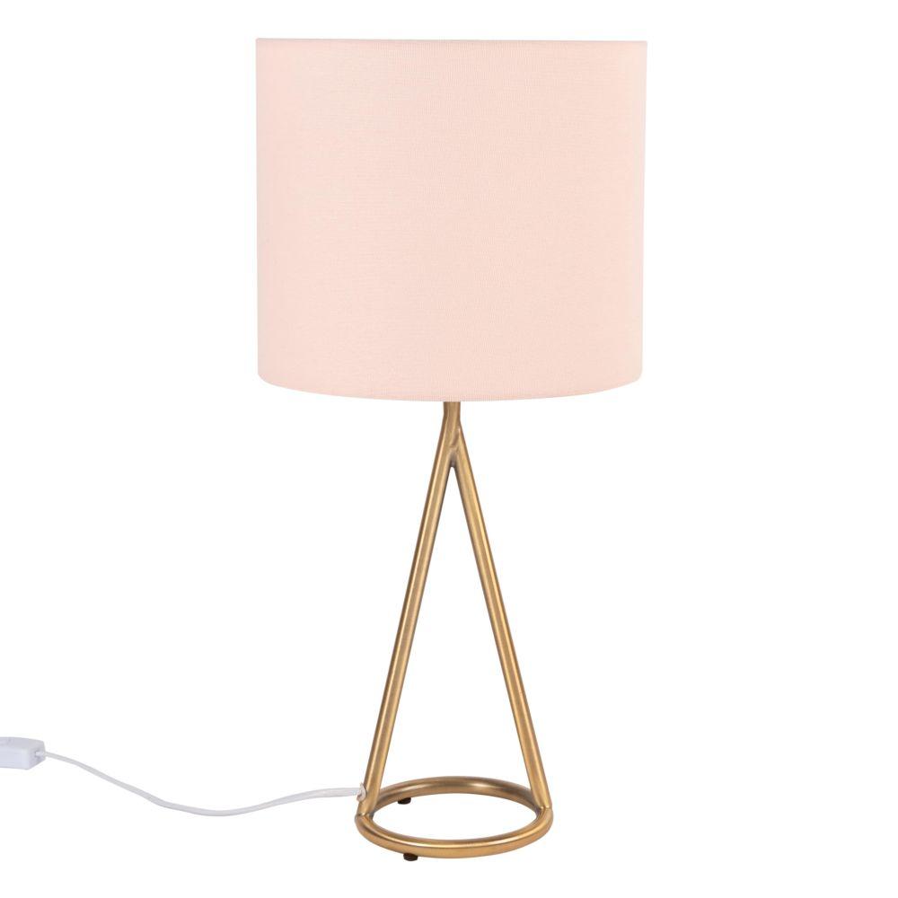 Lampe aus goldfarbenem Metall, puderrosa Lampenschirm
