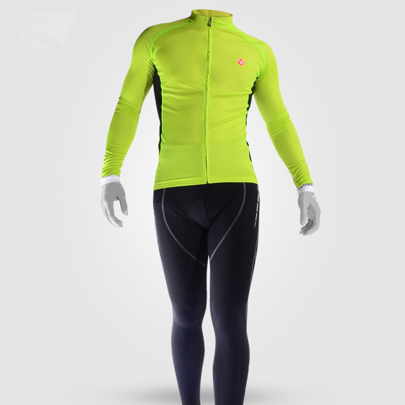 Men's Cycling Grass Green Clothing Set Breathable Quick Dry Jersey Glitter
