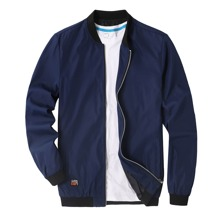 Men Letter Patched Bomber Jacket Without Tee