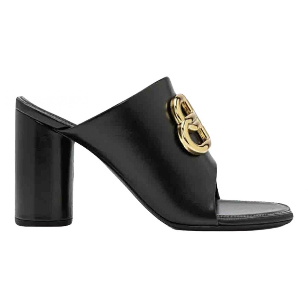 Balenciaga - Sandales BB pour femme en cuir - noir
