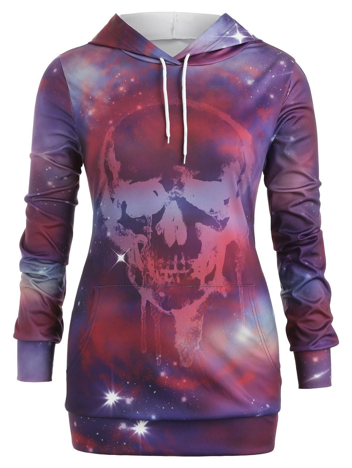 Plus Size Skull Galaxy Print Halloween Tunic Hoodie