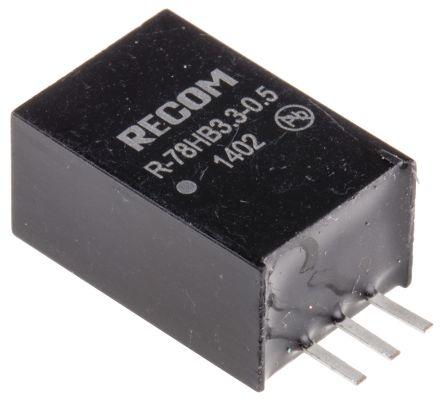 Recom Through Hole Switching Regulator, 3.3V dc Output Voltage, 9 → 72V dc Input Voltage, 500mA Output Current