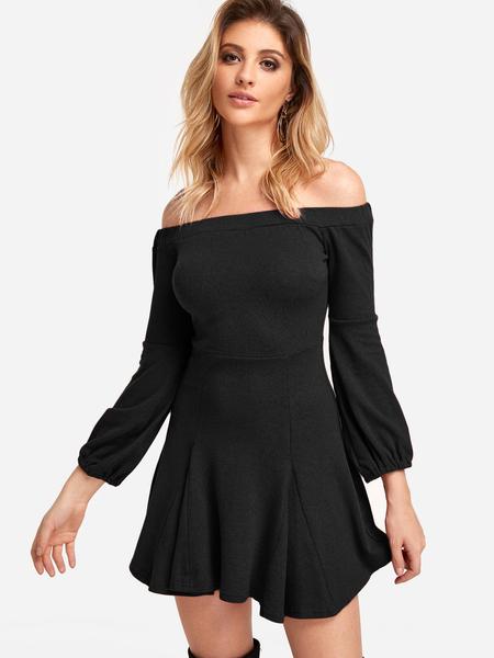 Yoins Black Plain Off The Shoulder Stitching Hem Dresses