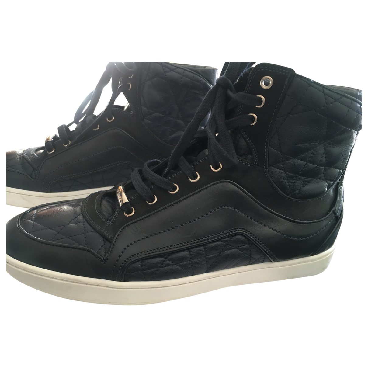 Dior \N Navy Leather Trainers for Women 36 EU