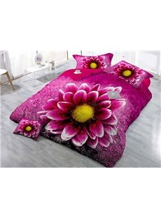 Lifelike Rosy Daisy Wear-resistant Breathable High Quality 60s Cotton 4-Piece 3D Bedding Sets