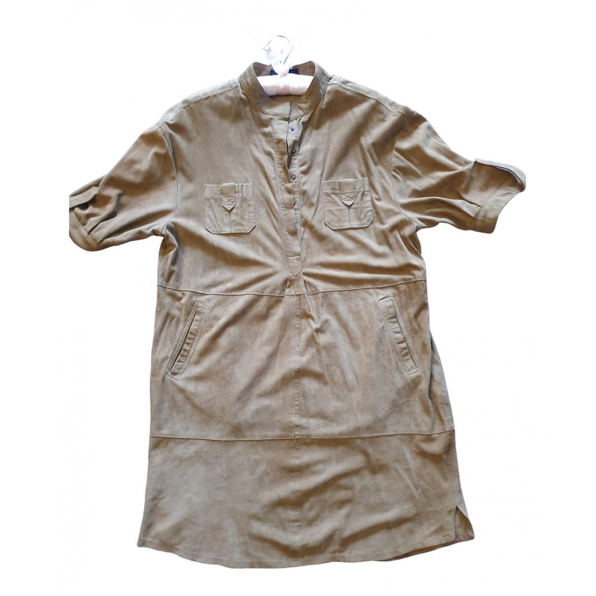 Massimo Dutti \N Kleid in  Beige Leder