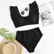 Ruffle Trim High Waisted Bikini Swimsuit