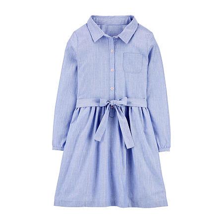 Carter's Big Girls Long Sleeve Shirt Dress, 6-6x , Blue