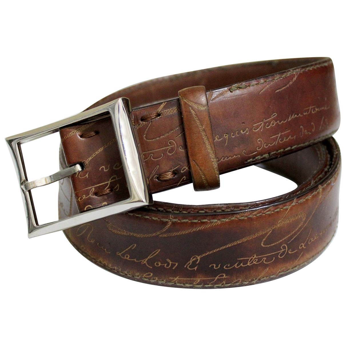 Berluti \N Brown Leather belt for Men 85 cm
