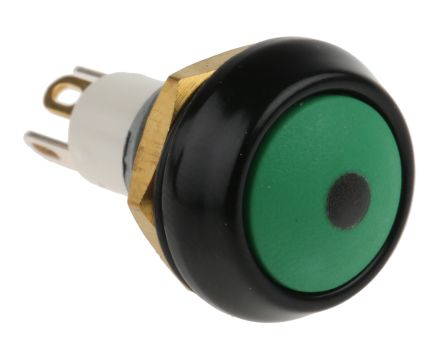 ITW 59 Single Pole Single Throw (SPST) Momentary Green LED Miniature Push Button Switch, IP67, 13.65 (Dia.)mm, Panel