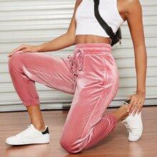 Pantalones deportivos de terciopelo con cordon con cremallera