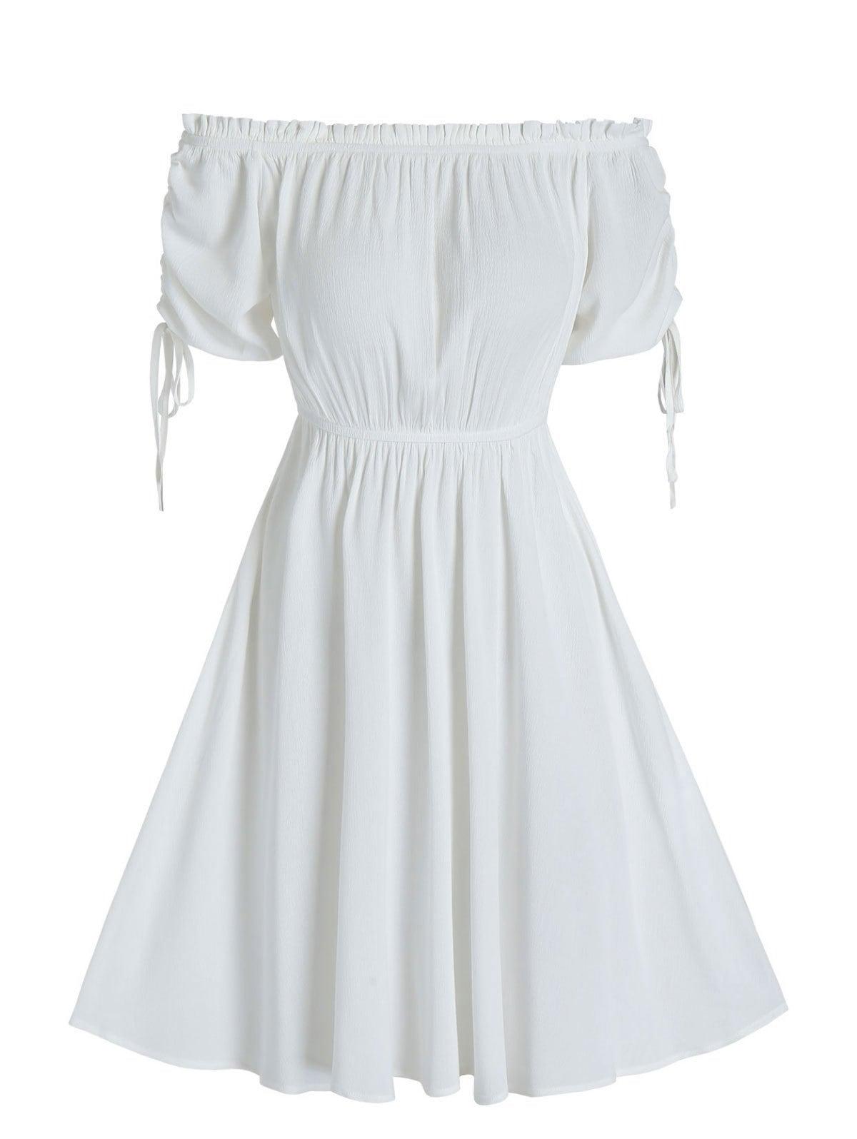 Off The Shoulder Drawstring Puff Sleeve Dress