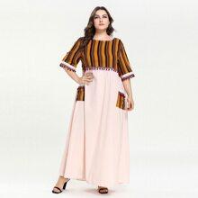 Plus Contrast Striped Pom Pom Dual Pocket Dress