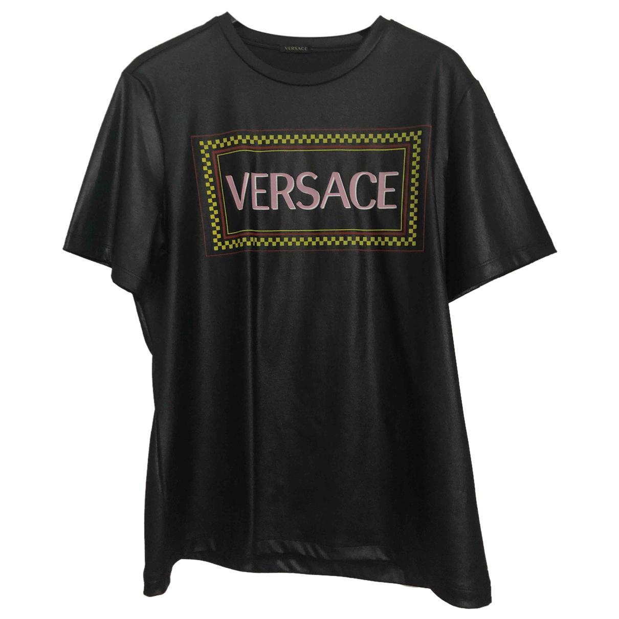 Versace - Top   pour femme en cuir verni - noir