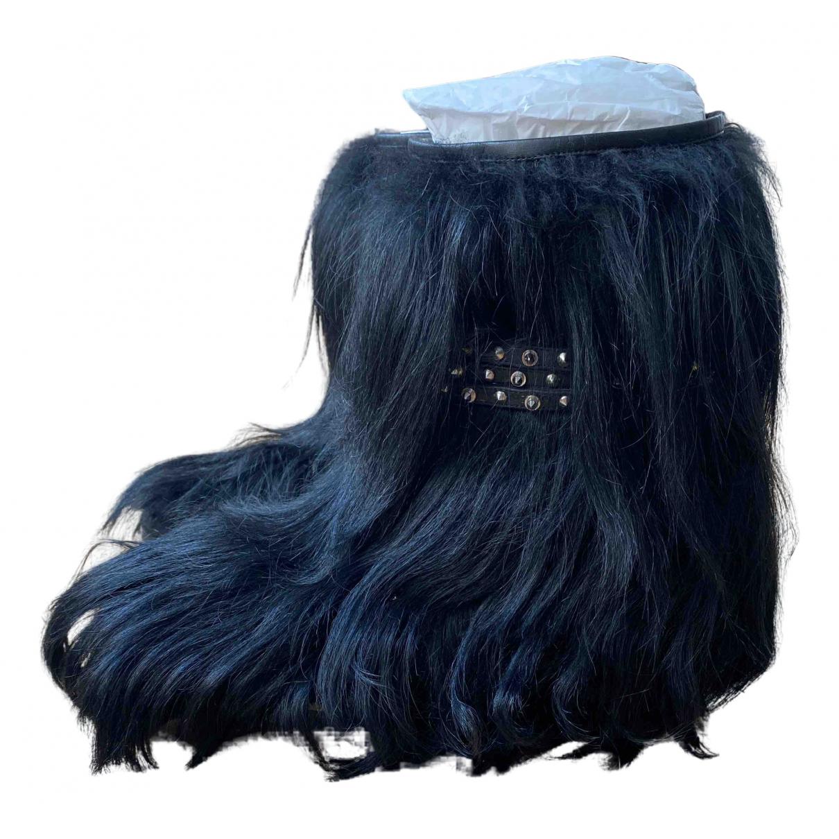 Saint Laurent \N Black Faux fur Boots for Women 38 EU