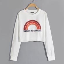 Slogan Graphic Crop Sweatshirt