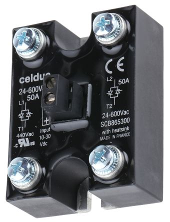 Celduc 50 A Solid State Relay, Zero Crossing, Panel Mount, 600 V ac Maximum Load