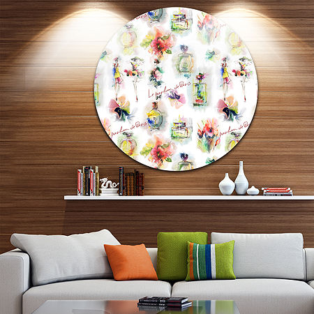 Design Art Perfume Bottles and Flowers Disc Abstract Circle Metal Wall Art, One Size , Yellow