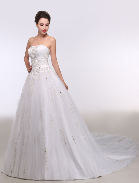 Milanoo Ball Gown Wedding Dress Sweatheart Strapless Embroidered Beading Sequins Bridal Gown Chapel Train Bridal Dress