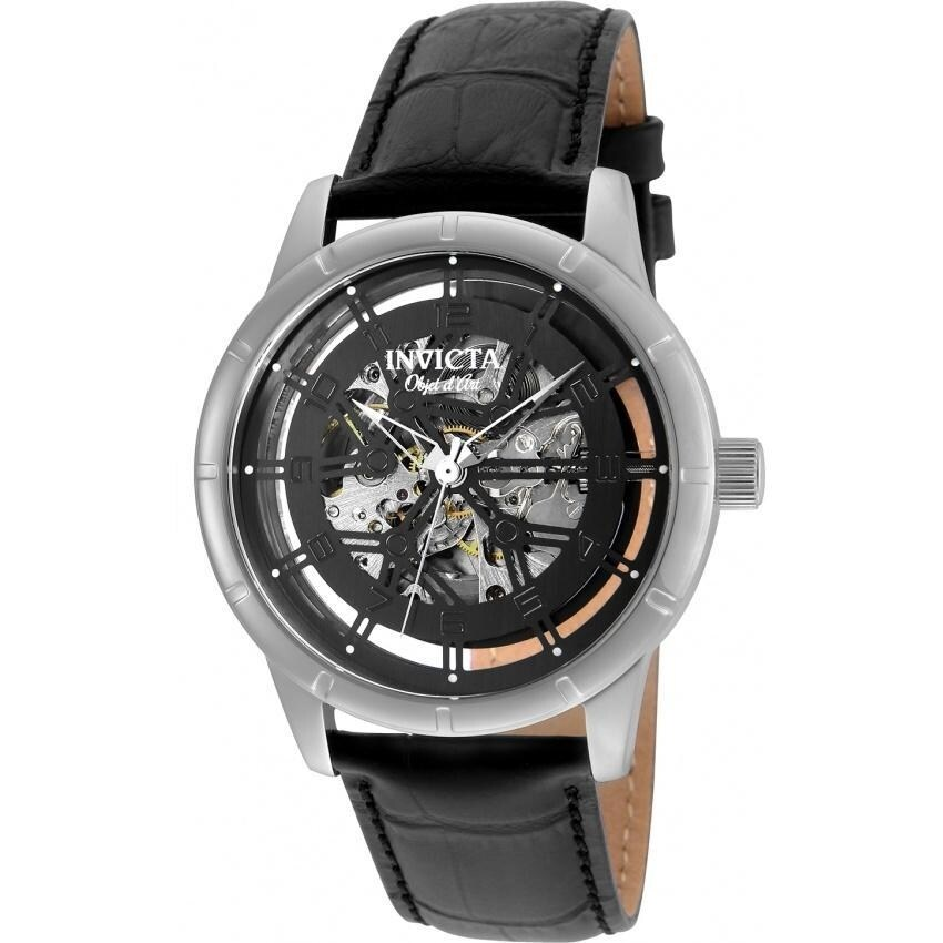 Invicta Mens 25259 Objet D Art Automatic Black Leather Watch (Black)