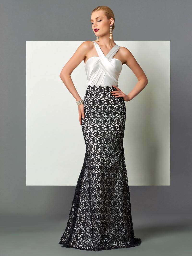Ericdress Halter Contrast Color Lace Mermaid Evening Dress In Floor Length