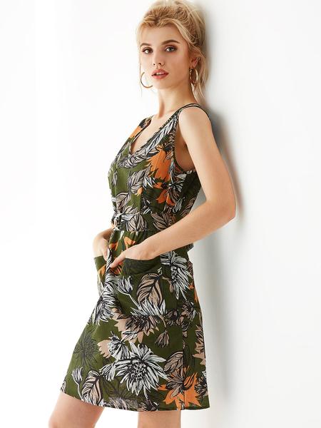 YOINS Green Floral Print V-neck Pockets Sleeveless Dress