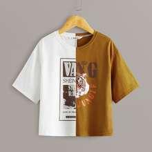 Maedchen T-Shirt mit Tiger und Buchstaben Grafik