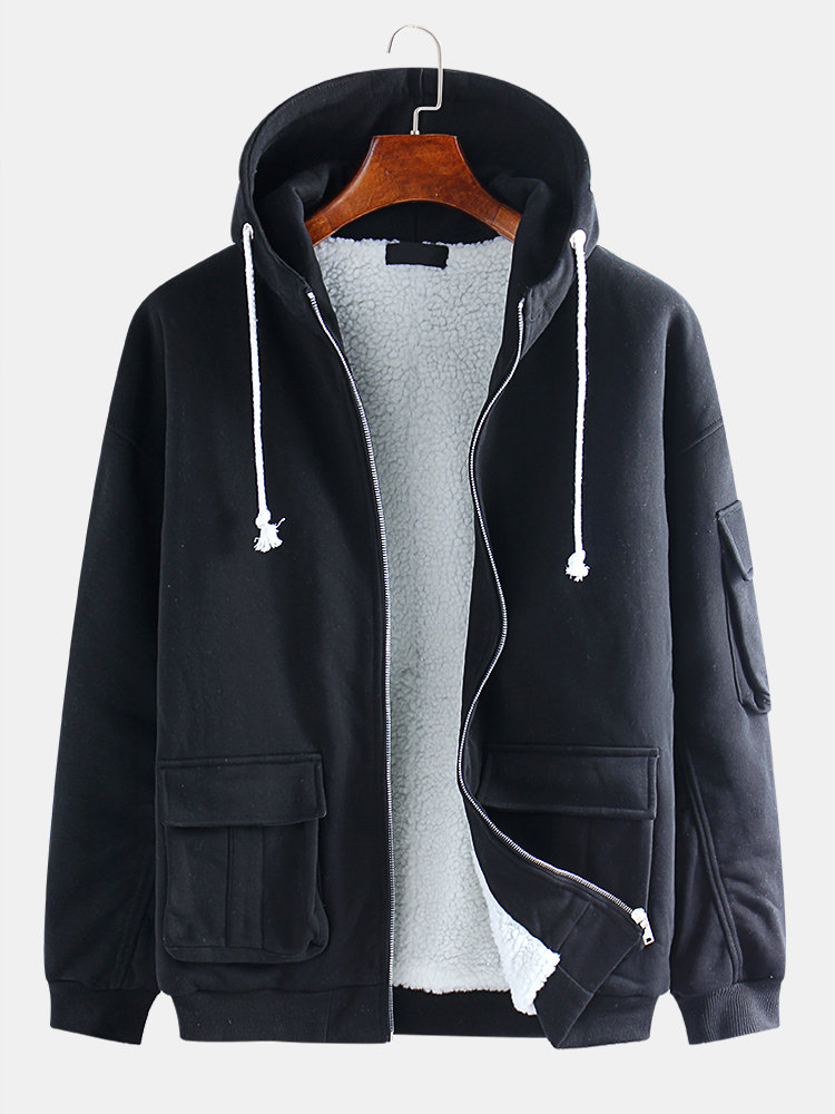 Mens Cotton Solid Color Drawstring Side Pockets Hooded Jackets