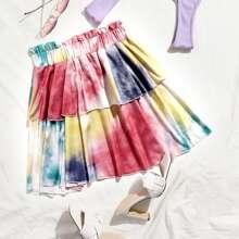 Paperbag Waist Tie Dye Layered Skirt
