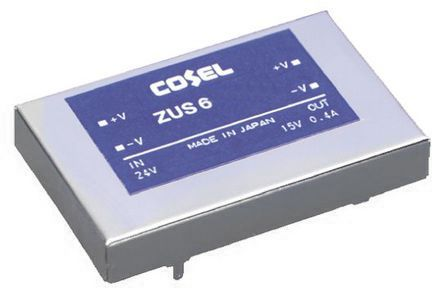 Cosel 6W Isolated DC-DC Converter Through Hole, Voltage in 9 → 18 V dc, Voltage out 15V dc