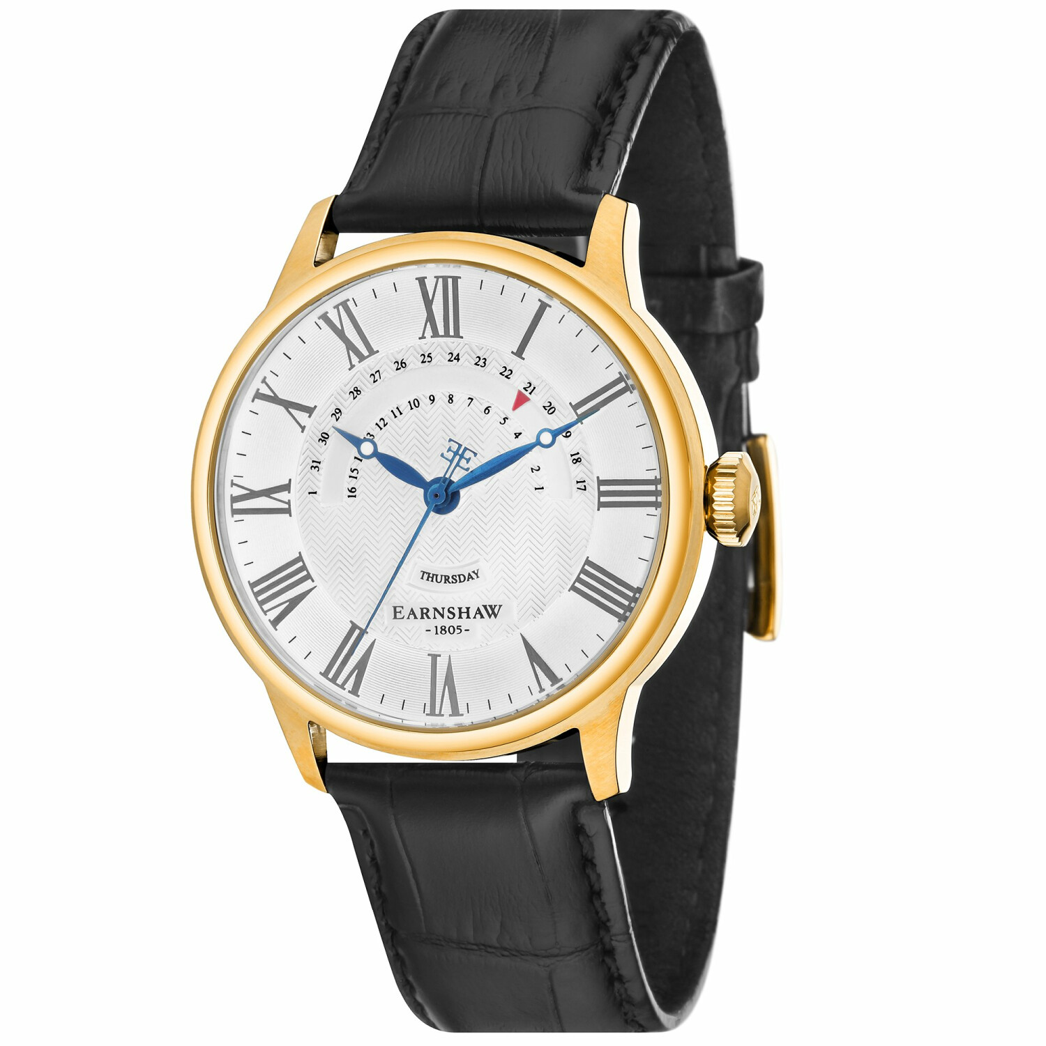 Thomas Earnshaw Mens Cornwall Retrograde Register Day Date ES-8077-SETA-02 Gold Leather Japanese Quartz Dress Watch