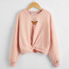 Girls Butterfly Print Drop Shoulder Twist Front Sweatshirt
