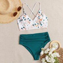 Bañador bikini de cintura alta fruncido floral