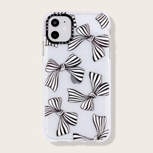 1pc Striped Bow Pattern iPhone Case
