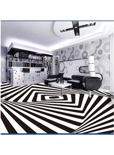 White and Black Three-dimensional Geometric pattern Decorative Waterproof 3D Floor Murals