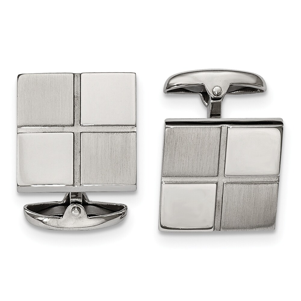 Chisel Stainless Steel Brushed and Polished Square Men's Cuff Links (White)