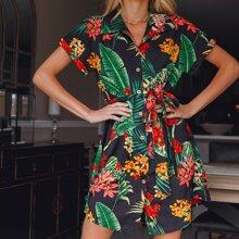 Cuffed Sleeve Tropical Print Belted Dress